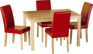 Oakmere Dining Set in Natural Oak Veneer / Rustic Red Faux Leather