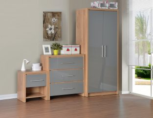 Seville Bedroom Set in Light Oak Effect Veneer / Grey High Gloss