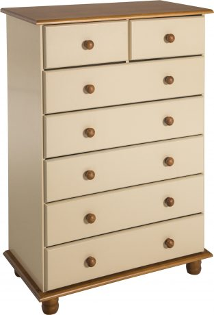 Sol 5+2 Drawer Chest in Cream/Antique Pine
