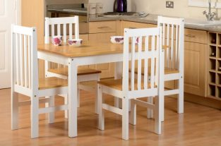Ludlow 1+4 Dining Set in Oak Lacquer / White